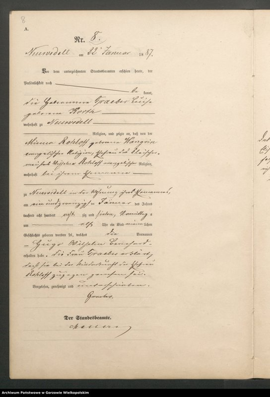 "Obraz 10 z jednostki ""Geburts Register"""