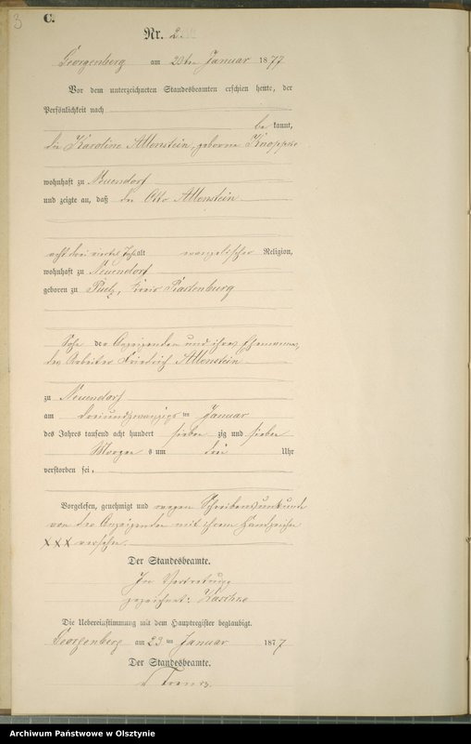 "Obraz z jednostki ""Sterbe-Neben-Register Nr 1 - 48"""