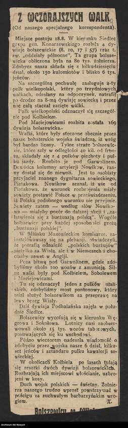 """Obraz 11 z jednostki """"Walki Armii Ochotniczej pod Warszawą. Wycinki prasowe."""""""