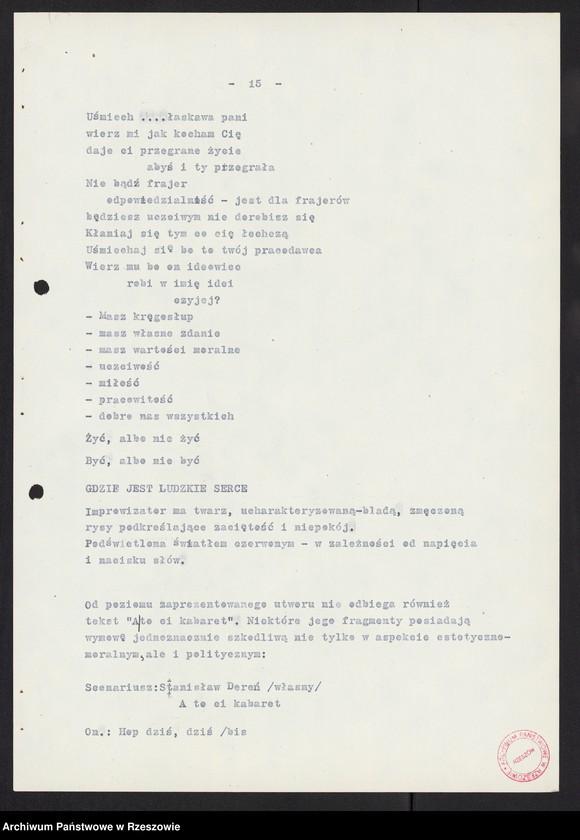 """Obraz 8 z kolekcji """"Wojewódzki Urząd Kontroli Prasy, Publikacji i Widowisk w Rzeszowie"""""""