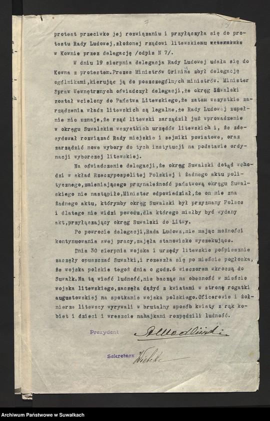 """Obraz 5 z kolekcji """"Charakterystyka rządów litewskich w Suwałkach (lipiec - sierpień 1920)"""""""