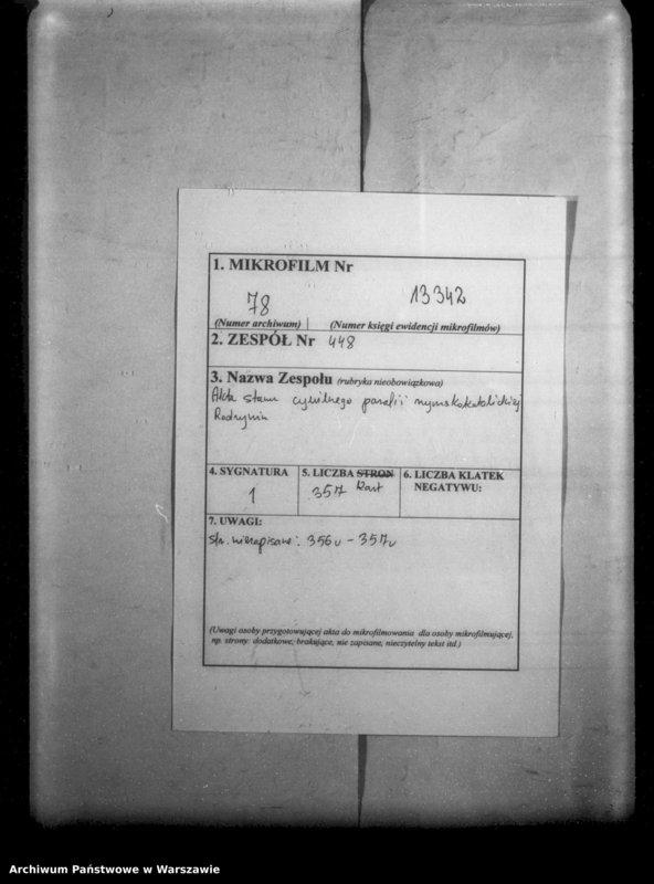 """Obraz 2 z jednostki """"Unikat akt zejścia parafii rzymsko-katolickiej Radzymin w latach 1878-1891"""""""