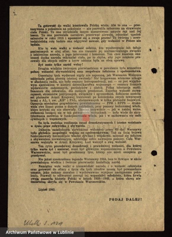 """Obraz 6 z kolekcji """"I rocznica Powstania Warszawskiego"""""""
