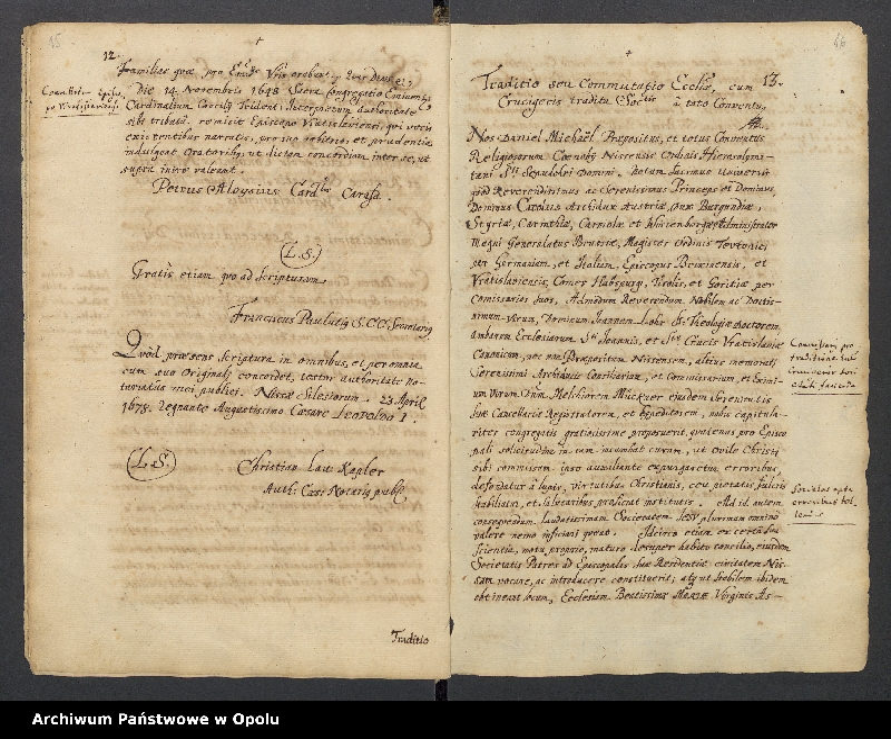"""Obraz 4 z kolekcji """"Księga dokumentów fundacyjnych Kolegium Jezuitów w Nysie"""""""