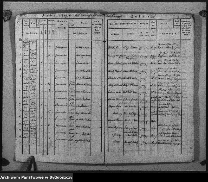 """image.from.unit """"Verzeichniss der Geborenen aus der evangel. Stadt- und Landgemeinde von Inowrazlaw Jahr 1817 bis incl. 1824"""""""