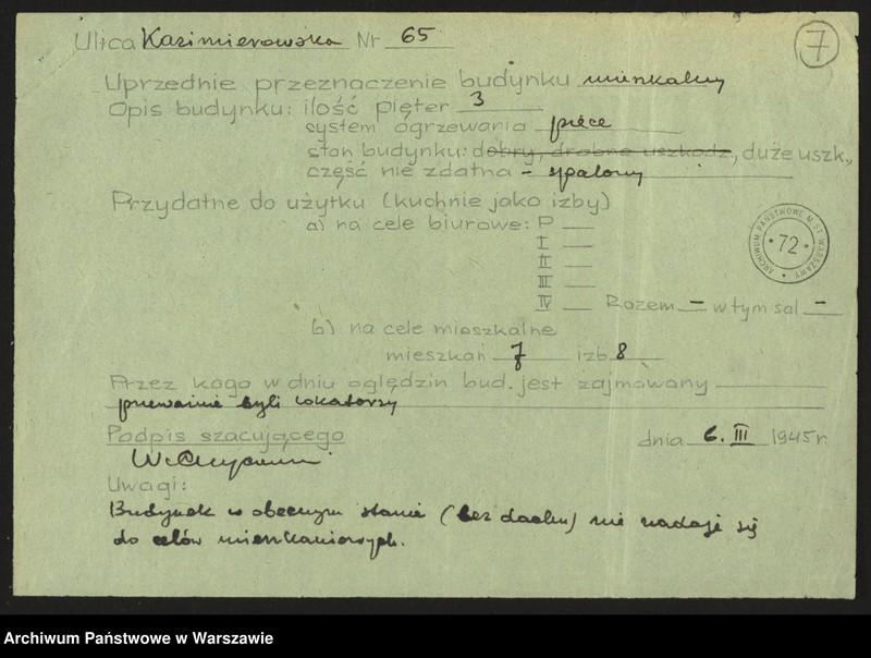 """Obraz 7 z jednostki """"Warszawa Pd. Fragment między ulicami: Narbutta, Kazimierzowska, Madalińskiego, Kwiatowa"""""""