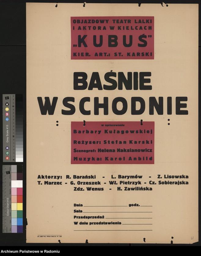 """image.from.unit """"Plakat informujący o wystawieniu w dn. 6-10.XI.1961 r. przez Objazdowy Teatr Lalki i Aktora w Kielcach """"Kubuś"""" """"Baśni Wschodnich"""" w opracowaniu B. Kułagowskiej, w reżyserii Stefana Karskiego"""""""
