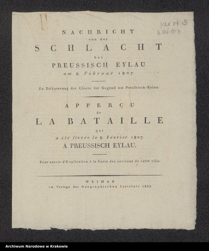 """Obraz z jednostki """"Charte der gegend um Pr. Eylau zur Erläuterung der Nachricht von der daselbst am 8 Februar 1807 vorgefallenen Schlacht."""""""