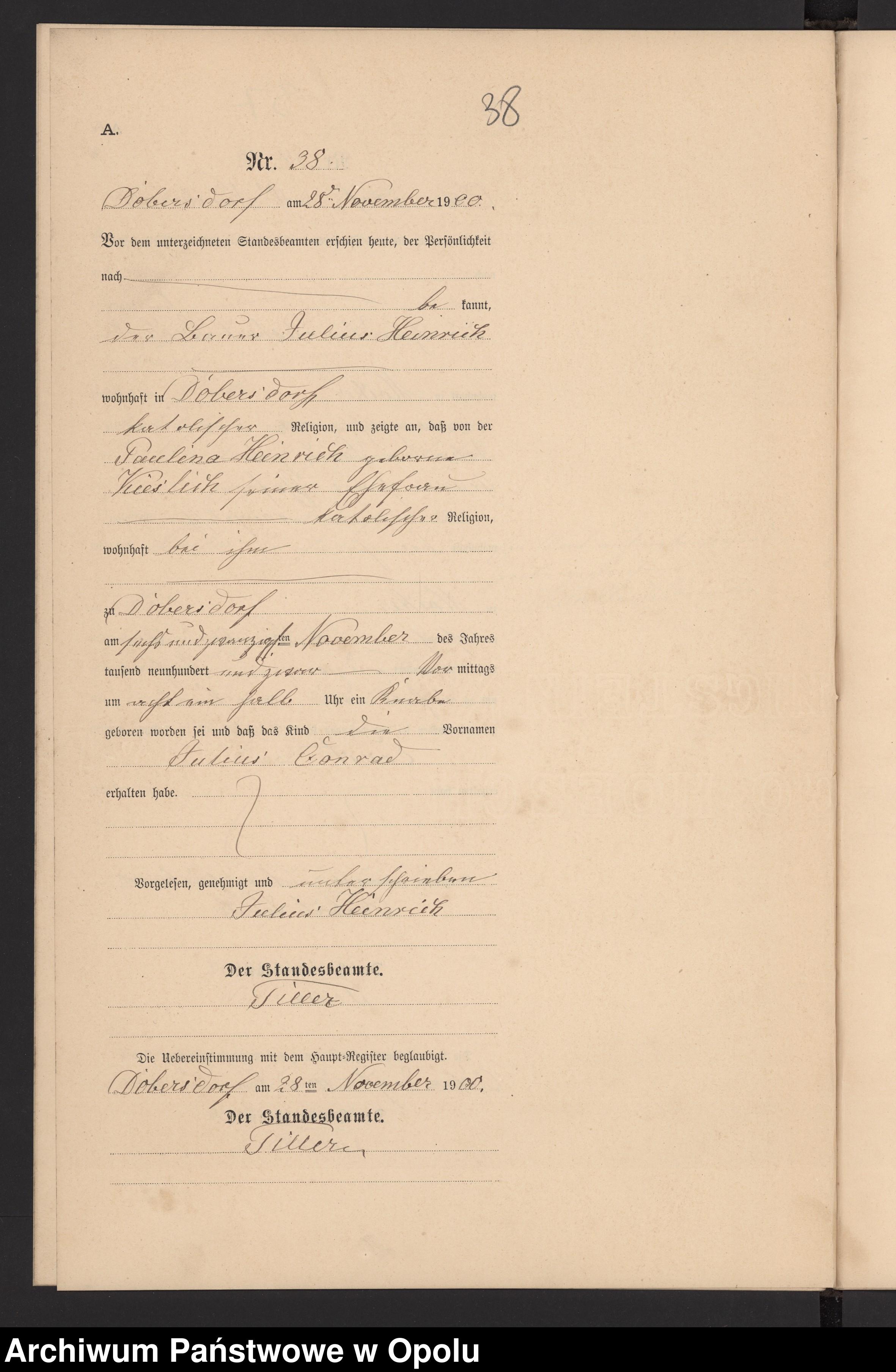 Skan z jednostki: Geburts-Neben-Register Standesamts Dobersdorf pro 1900