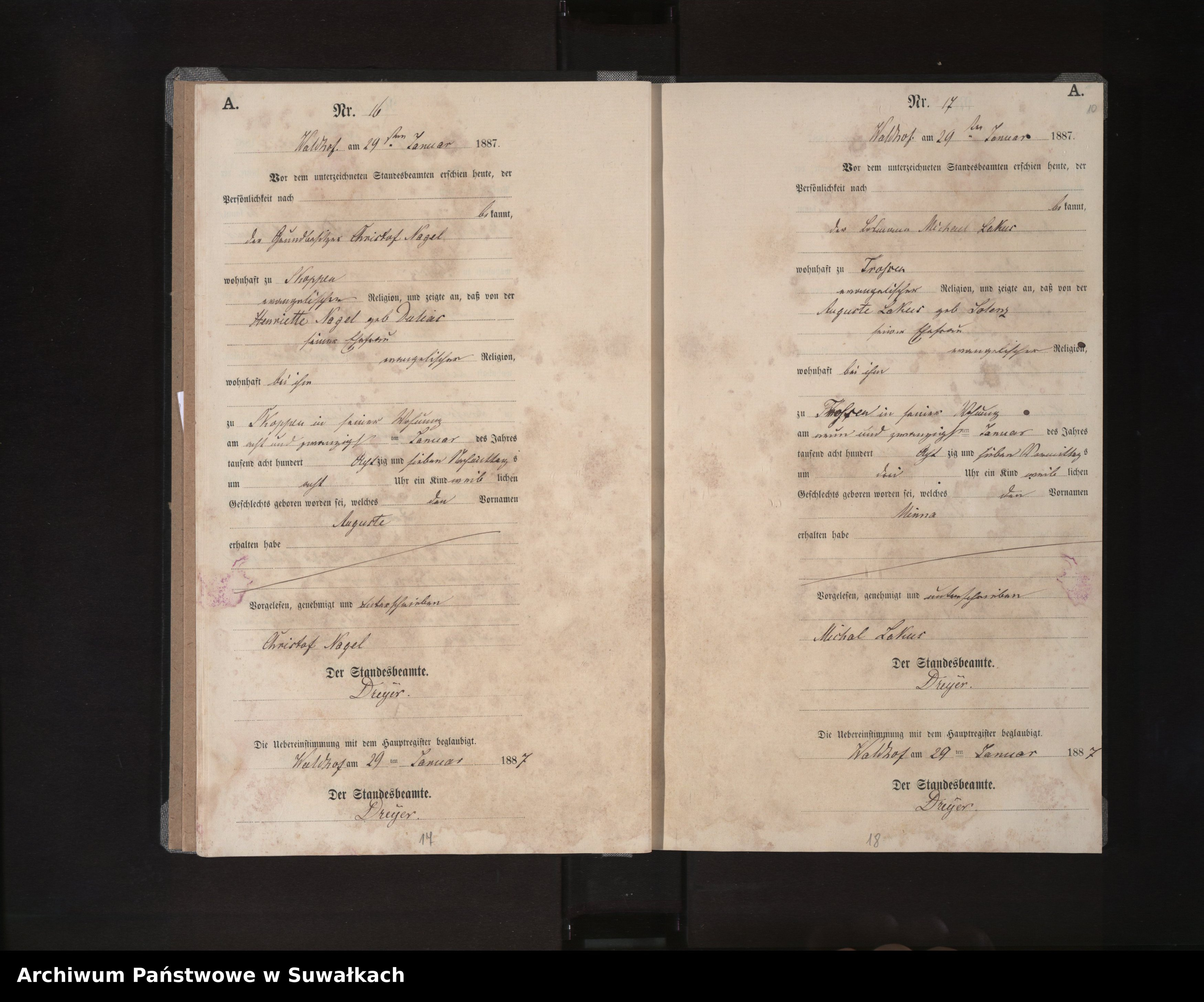 Skan z jednostki: Geburts-Neben-Register des Königlichen Preussischen Standes-Amtes Orlen Kreis Loetzen