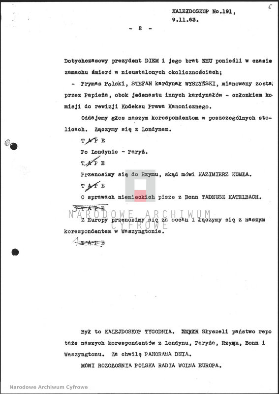 """Obraz 7 z jednostki """"Skrypty audycji z dnia 09.11.1963"""""""