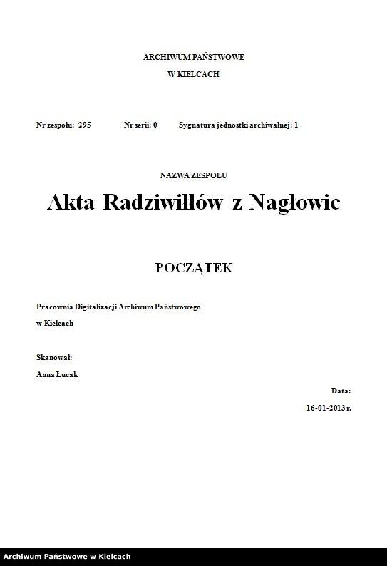 """Obraz z zespołu """"Akta Radziwiłłów z Nagłowic"""""""