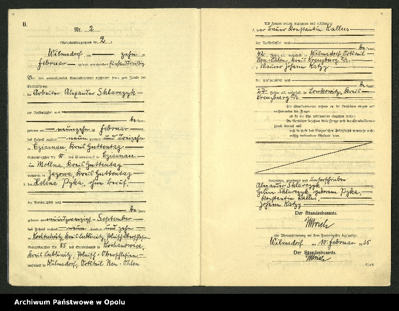 "Obraz 5 z jednostki ""Heirats-Register (Neben-Register) Standesamt Wilmsdorf Kreis Kreuzburg O/S 1935 vol.61 No. 1 bis 12"""