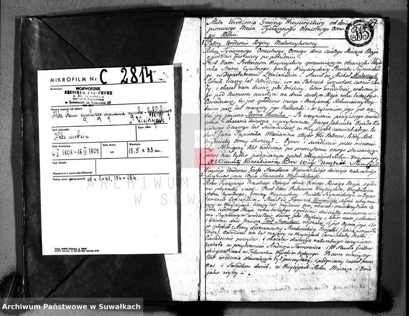 """image.from.unit """"Księga aktów cywilnych urodzenia, stosowanie do prawa W. Napoleona od dnia 1 miesiąca maja 1808 roku parafii wieysieyskiey przez urzędnika tychże aktów niżej podpisanego zaczęta i kontynuowana"""""""