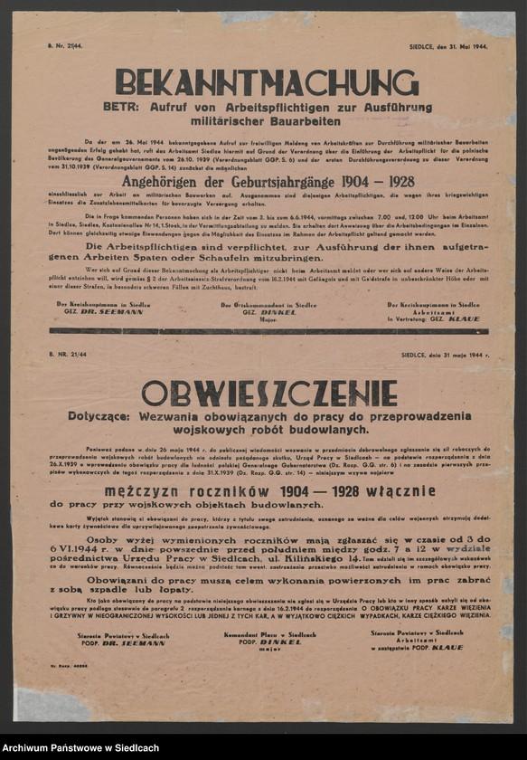 """Obraz 22 z kolekcji """"Afisze okupacyjne powiatu siedleckiego 1939-1944"""""""