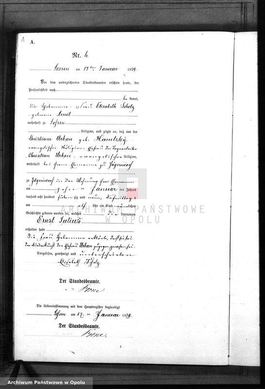 "Obraz 7 z jednostki ""Geburts-Neben-Register Standes-Amt Lossen 1879"""