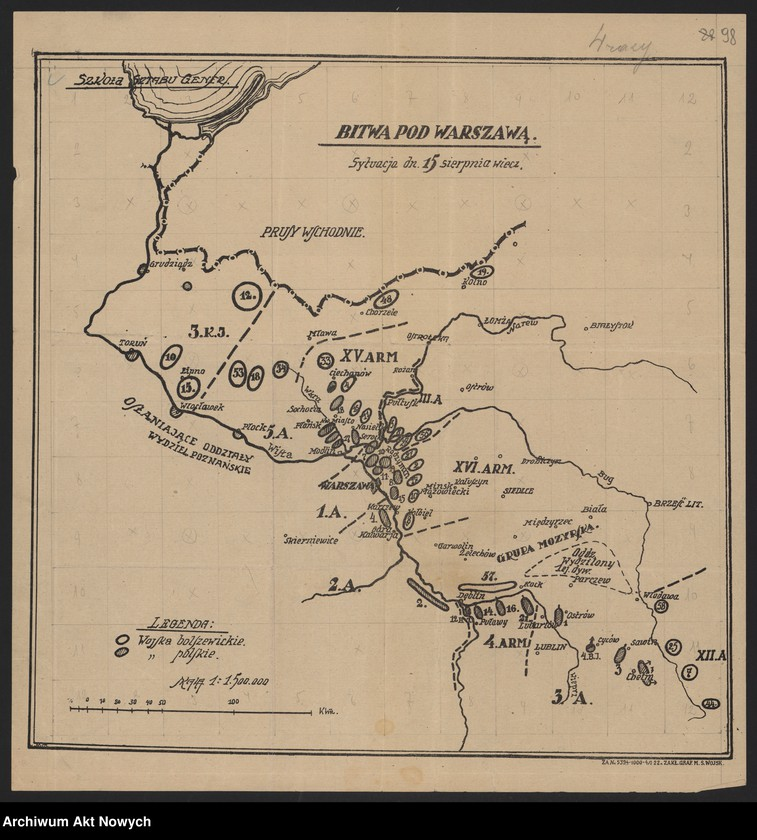 """Obraz z jednostki """"Materiały dotyczące wojny 1920 roku. Odpisy akt, plany, wycinki prasowe. """""""