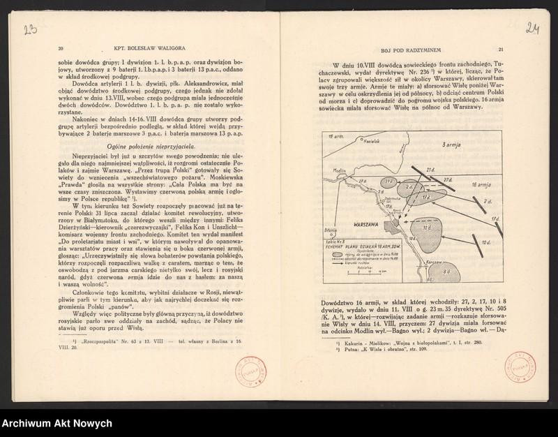 """Obraz 16 z jednostki """"Materiały dotyczące wojny 1920 roku. Odpisy akt, plany, wycinki prasowe. """""""