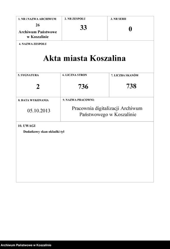 """Obraz 1 z kolekcji """"Kronika Wendlanda - pierwsza monografia Koszalina"""""""
