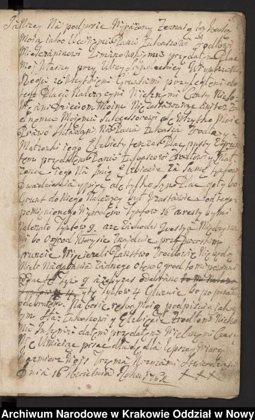 """Obraz 15 z kolekcji """"Fragment księgi wójtowsko-ławniczej miasta Limanowej z lat 1750-1818"""""""