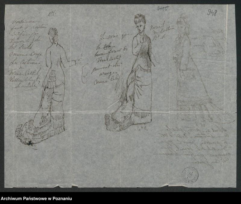 """Obraz 1 z kolekcji """"Szkice krawieckie w korespondencji Józefy Radolińskiej (1809-1880) z jej synem Hugonem (1841-1917) i synową Lucy Catherine Wakefield"""""""