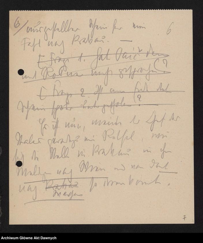 """Obraz 8 z jednostki """"Betr[ifft] Festnahme Pilsudskis [Rękopis tekstu """"Uwięzienie Piłsudskiego"""" i korespondencja urzędowa Szefa Administracji dotycząca kolejnych wersji opracowania]."""""""