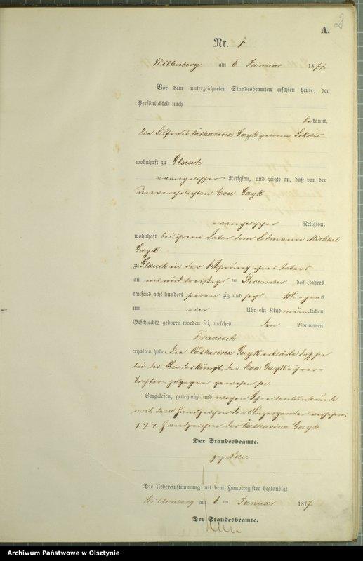 """Obraz z jednostki """"Geburts-Neben-Register Nr 1 - 251"""""""