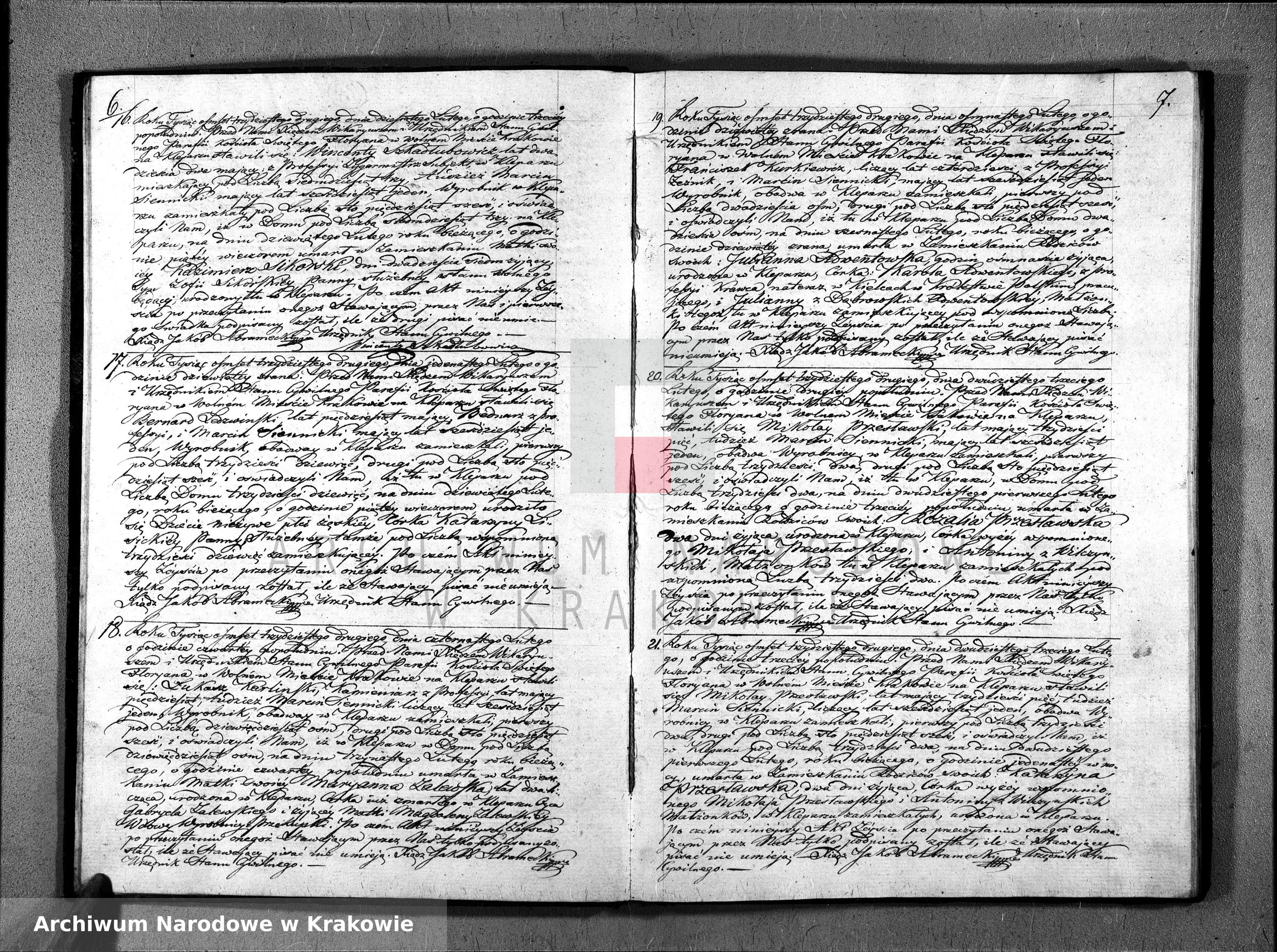 Skan z jednostki: Księga Aktów Zeyścia dla Parafii Sgo Floryana na Rok 1832gi […]