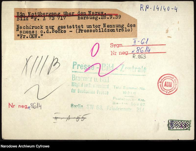 """Obraz 1 z jednostki """"Budowa mostu na Narwi przez wojska niemieckie"""""""