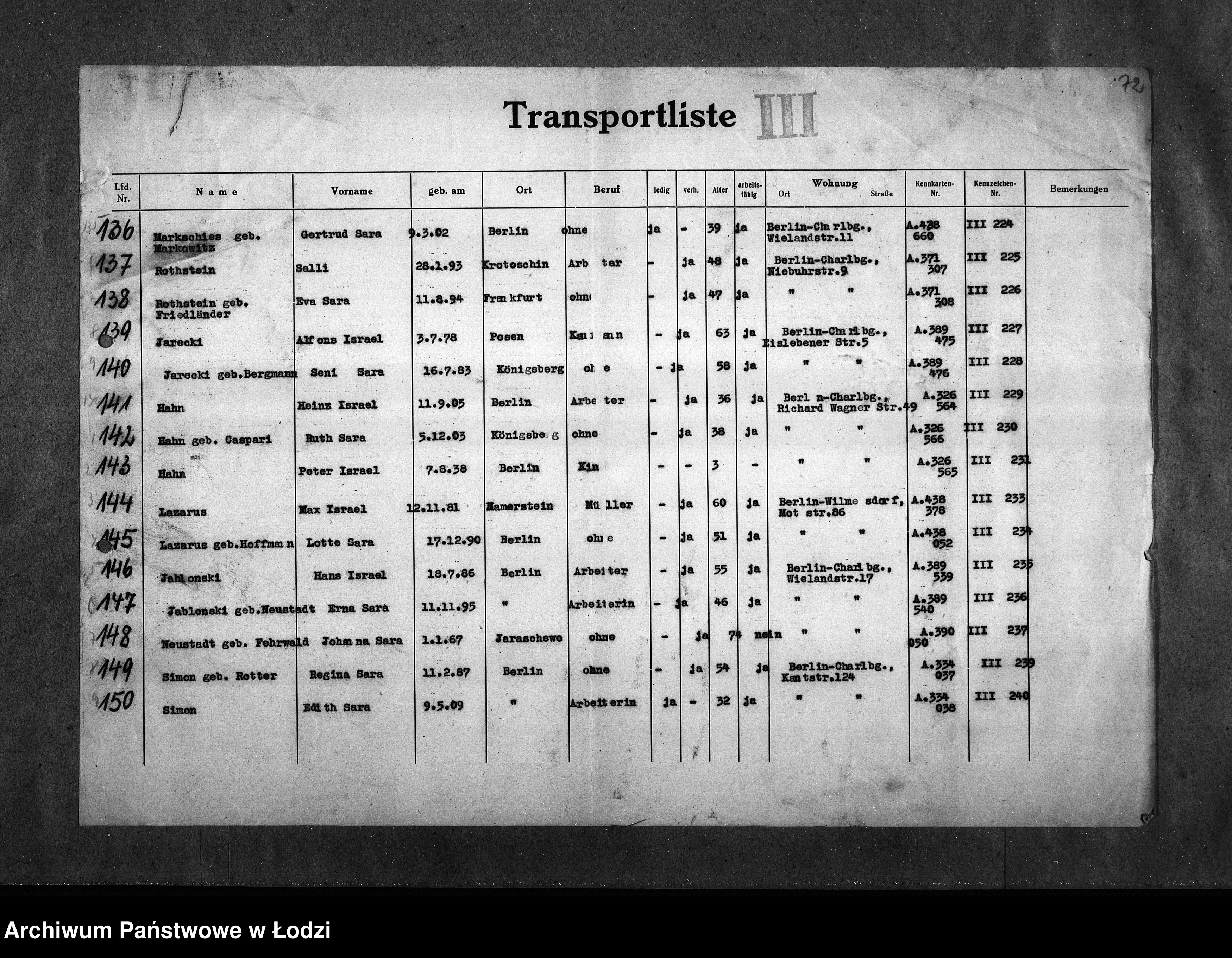 Skan z jednostki: [Imienne wykazy transportów Żydów berlińskich]