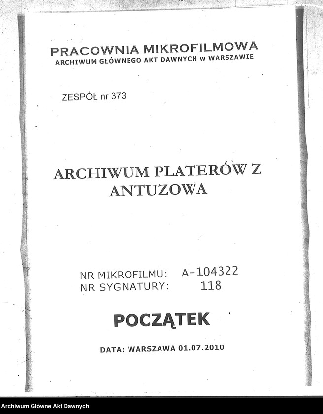 """Obraz z zespołu """"Archiwum Platerów z Antuzowa"""""""
