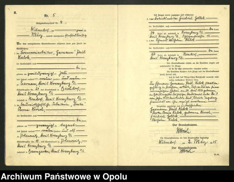 "Obraz 8 z jednostki ""Heirats-Register (Neben-Register) Standesamt Wilmsdorf Kreis Kreuzburg O/S 1935 vol.61 No. 1 bis 12"""