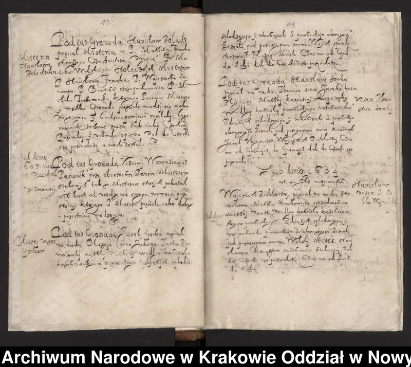 """Obraz 1 z kolekcji """"Fragment księgi cechu szewskiego w Starym Sączu z lat 1603-1709"""""""