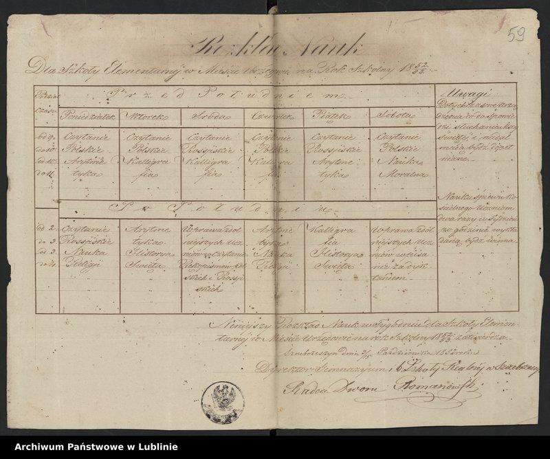 """Obraz 3 z kolekcji """"Rozkład zajęć Szkoły Elementarnej w Urzędowie (1836-1861)"""""""
