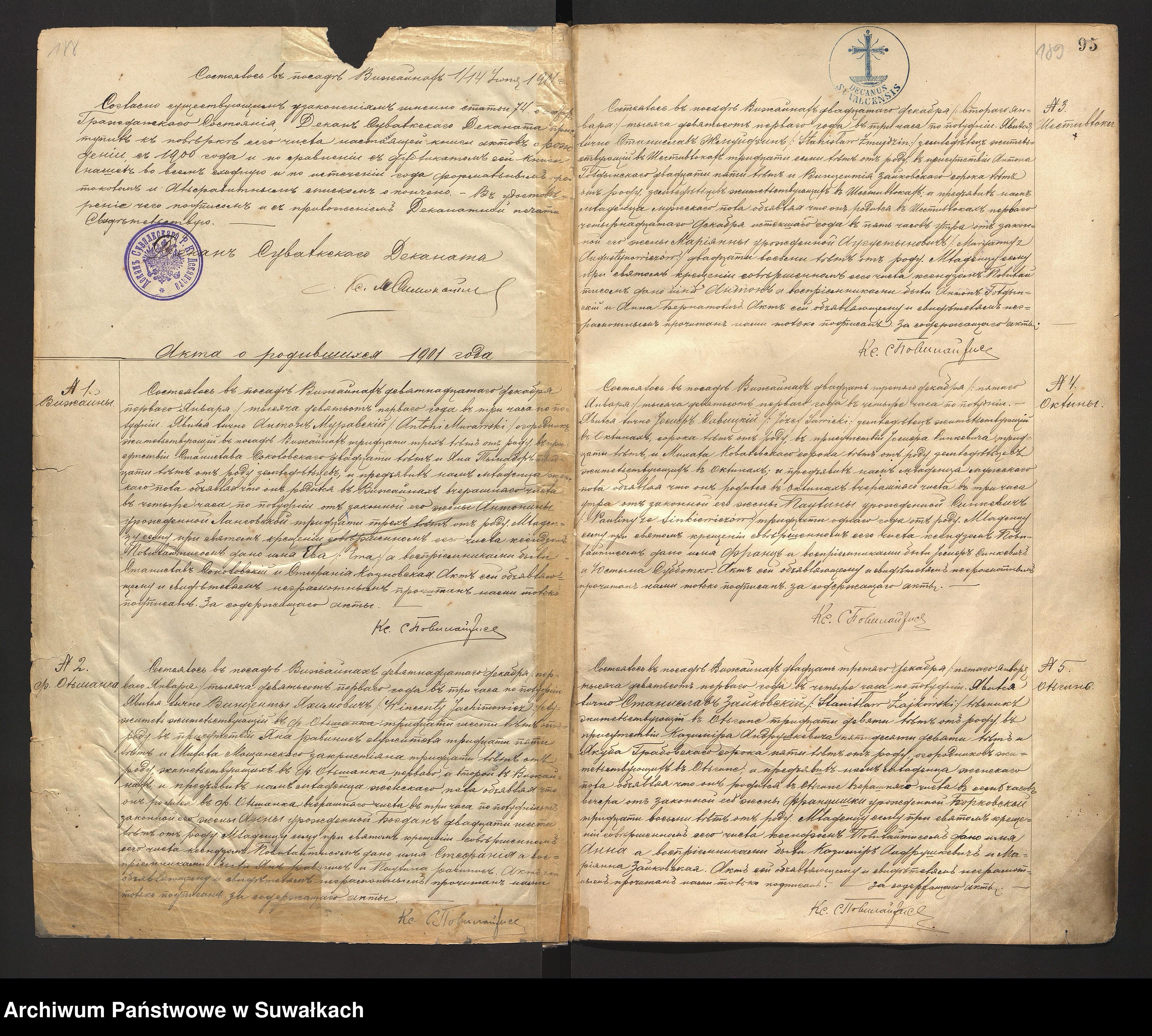Skan z jednostki: Akta urodzonych parafii Rzym. Katol. Wiżajny 1898 do 1903 roku