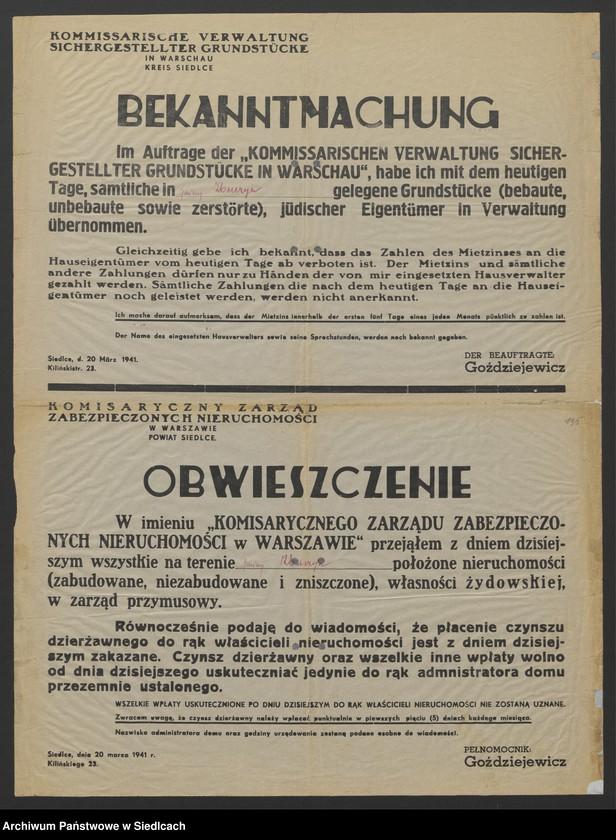 """Obraz 30 z kolekcji """"Afisze okupacyjne powiatu siedleckiego 1939-1944"""""""